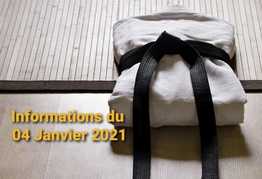 Informations du 04 Janvier 2021 : Dojo ouvert aux mineurs